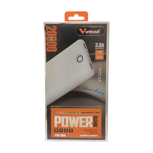 پاوربانک V-Smart مدل VS-59 خروجی QC3 ظرفیت 20/000 (اورجینال)