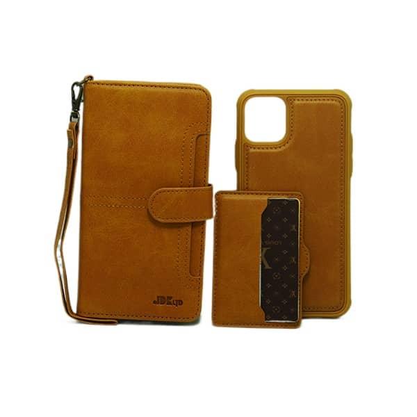 کیف چرمی آیفون JDK مدل IP 11 PRO MAX رنگ قهوه ای