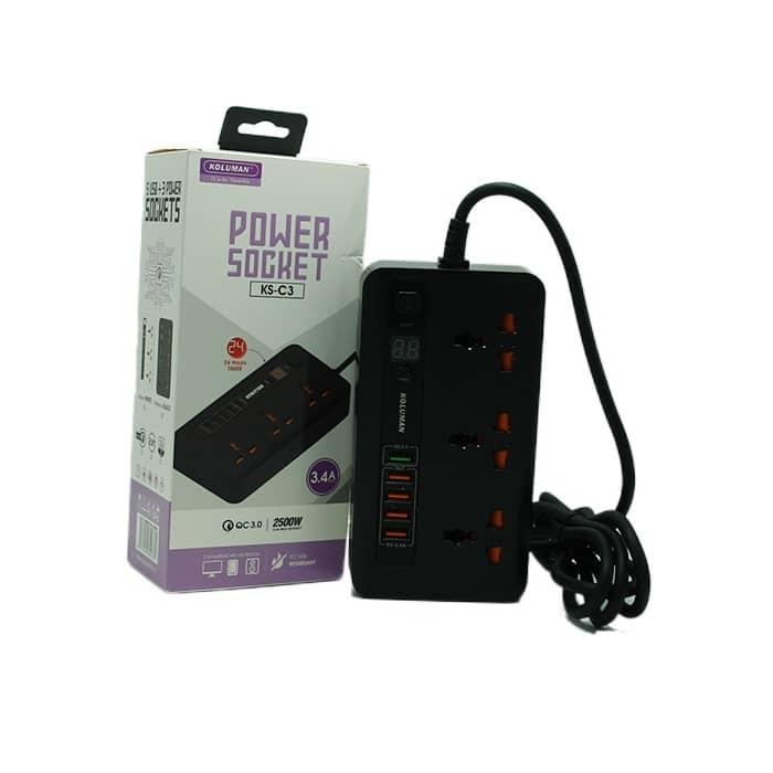 شارژر فست USB و چندراهی برق کلومن مدل C3