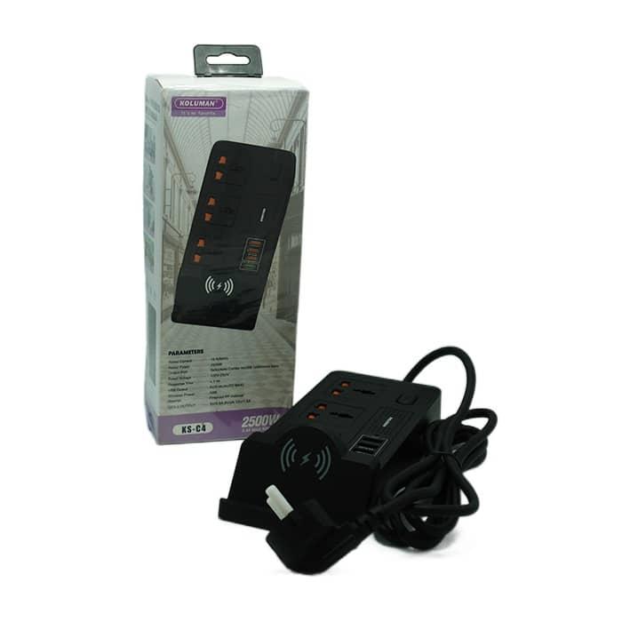شارژر فست USB بی سیم و معمولی و چندراهی برق کلومن مدل C4