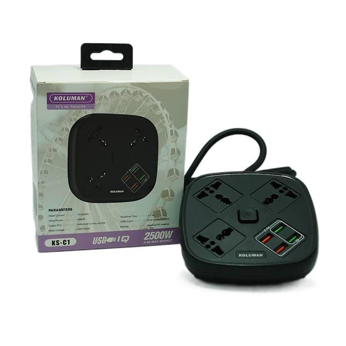 شارژر فست USB و چندراهی برق کلومن مدل C1